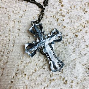 Vintage Jewelry - Gothic embellished cross necklace